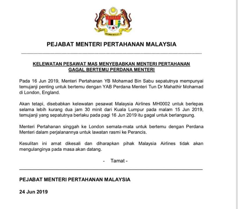 Akibat Tiada Whatsapp Group, Menteri Pertahanan Buat