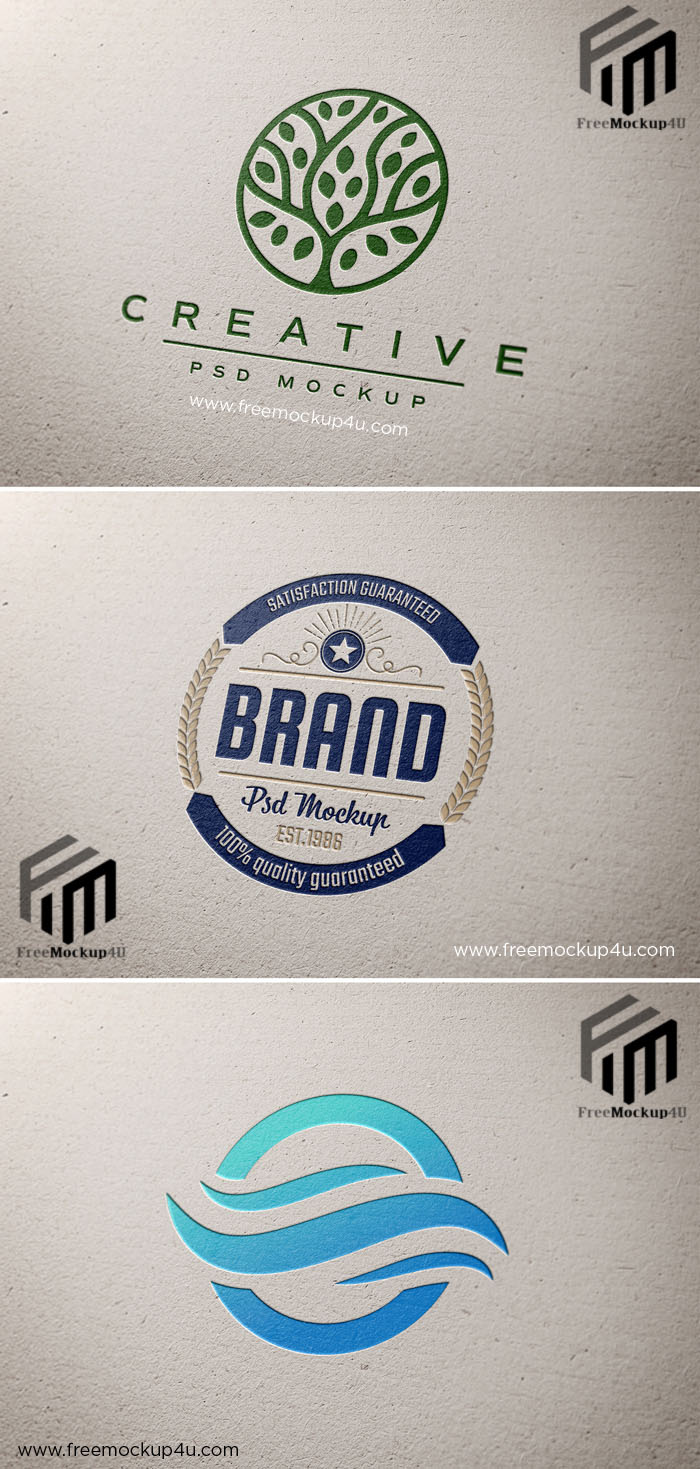 Logo Mockup on Paper Texture with Debossed Effect
