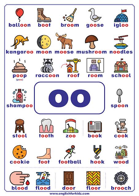 oo words - printable vowel teams poster - English phonics