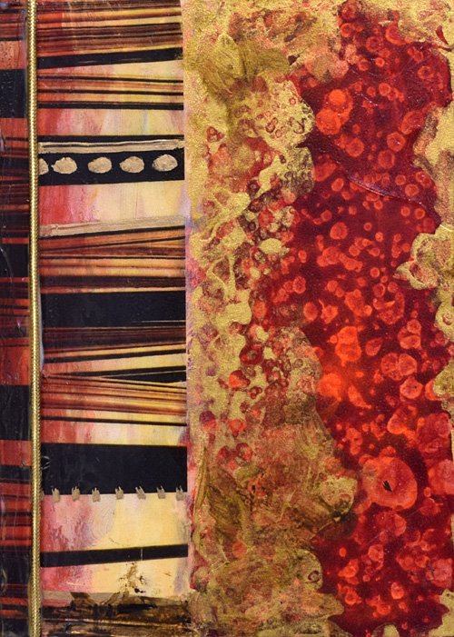 vibrant reds and gold mixed media painting