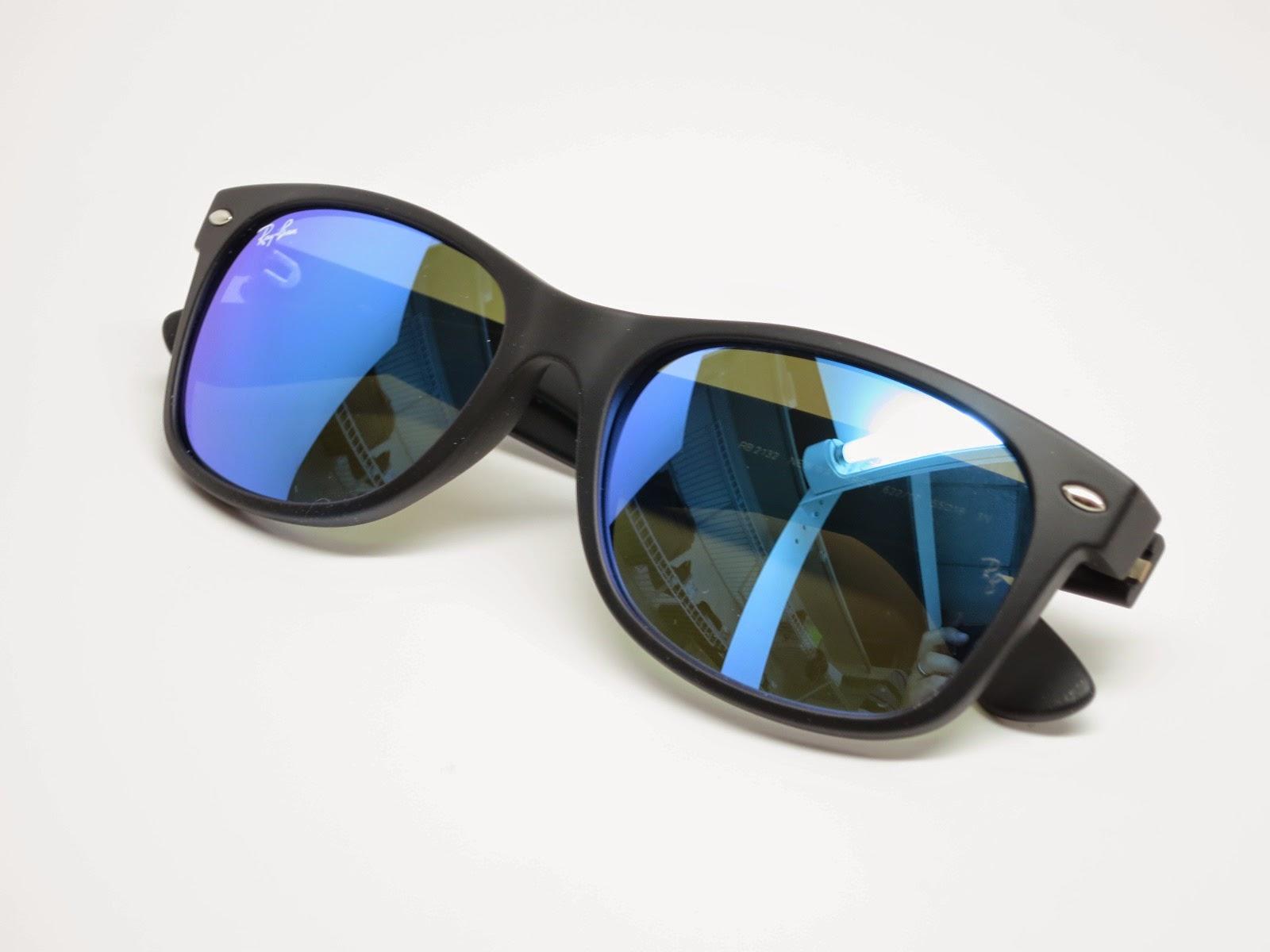 ray ban glasses bent  ray ban rb 2132 new wayfarer 622/17 blue mirrored sunglasses