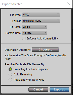 Export Selected Window in Avid Pro Tools