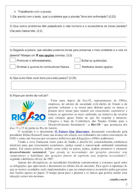 avaliação de portugues 5º ano