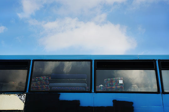 bus graveyard, blue, art, urban photography, contemporary photography, modern photography, documentary photography,