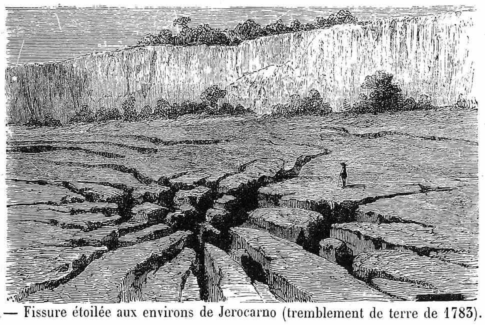 Star crack around Jerocarno, an 1783 geological fissure illustration