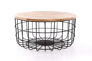 Mesa de centro de forja y madera redonda