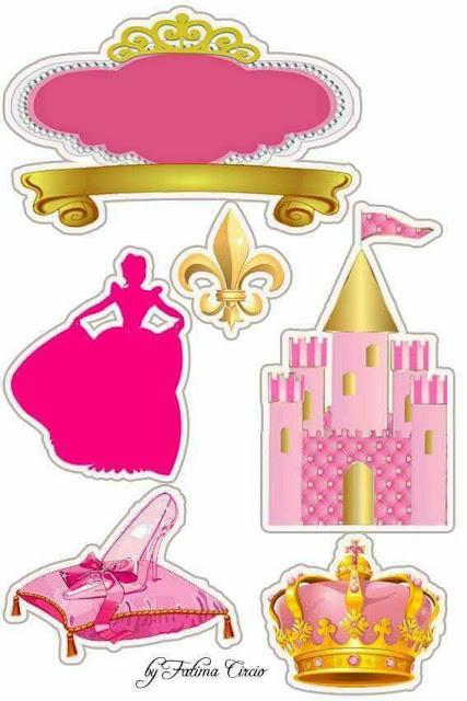 Cenicienta en Rosa: Toppers para Tartas, Tortas, Pasteles, Bizcochos o Cakes para Imprimir Gratis.