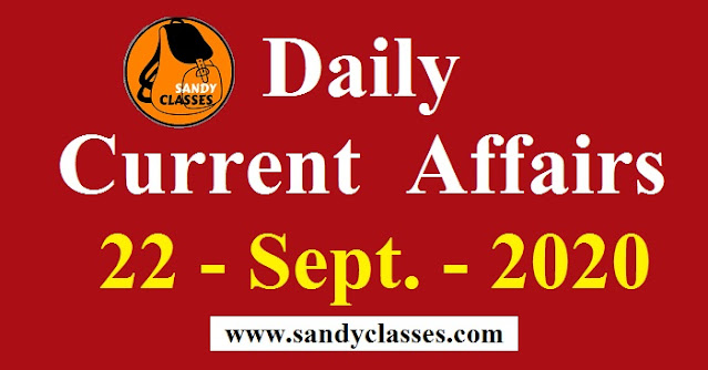 Daily Current Affairs in Hindi / English - 22 September 2020