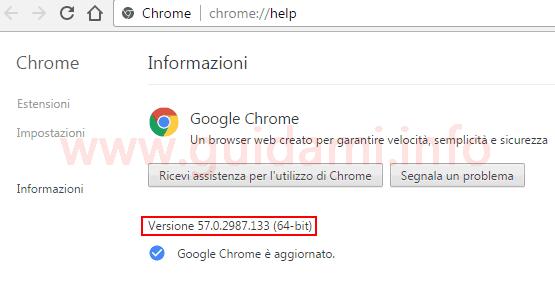 Chrome scheda informazioni versione installata