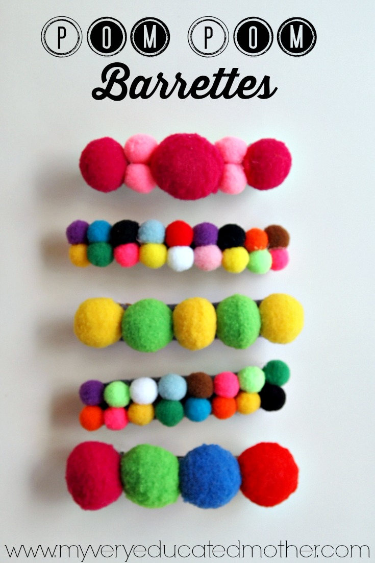 Quick and Easy Pom Pom Barrettes