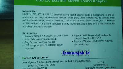 Spesifikasi USB soundcard ugreen PID 30724