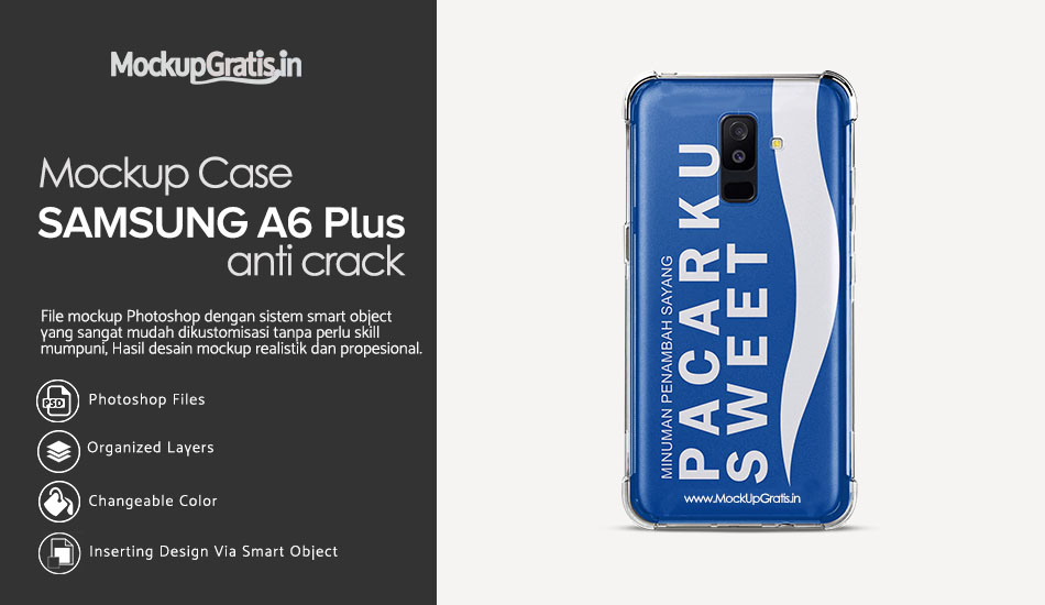 Mockup Case Anti Crack SAMSUNG Galaxy A6 Plus (2018) Gratis PSD File