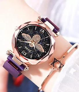 Jachin Women's Rose Gold Starry Sky Bee Big Dial Watches