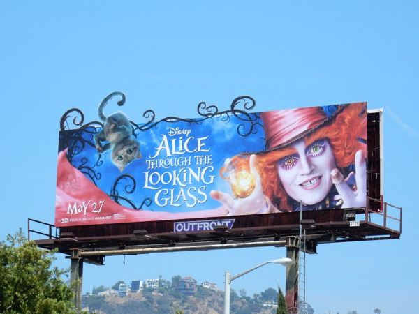 Cheshire Cat Mad Hatter Alice through Looking Glass billboard