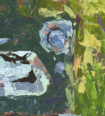 art painting palette knife green Chevy truck abstract