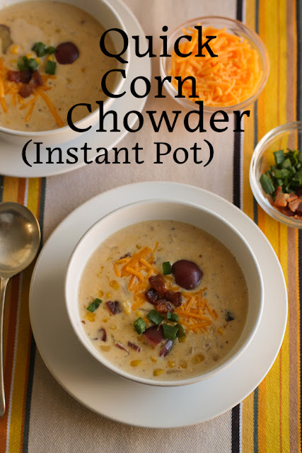 Food Lust People Love: This quick corn chowder is creamy and rich. It's made with cream, cream cheese and plenty of sharp cheddar, not to mention tender red potatoes and crispy bacon. You can enjoy this savory warming soup in fewer than 30 minutes because instead of a long, slow simmer, it's cooked under pressure in an Instant Pot.