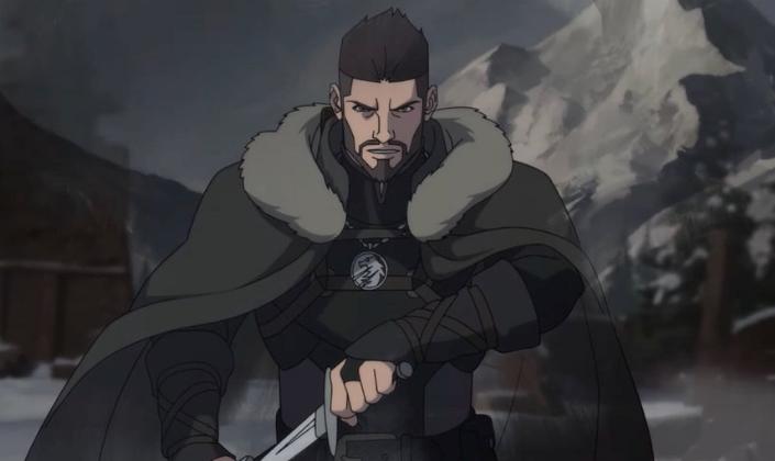 Imagem de capa: o personagem Vesemir, do anime, um guerreiro de cabelos pretos em uma longa capa de pele marrom, erguendo uma espada, e por trás dele, montanhas nevadas.