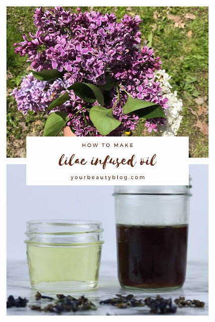 How to make lilac oil. Since there is no lilac essential oil, make a DIY lilac oil with a carrier oil or witch hazel.  Use your infused oil in DIY natural beauty recipes.  Lilacs have many uses and benefits in natural beauty.  This spring, pick lilacs to dry to make simple DIY beauty products.  Use hacks like this for natural skincare recipes at home. #lilac #carrieroil #diybeauty