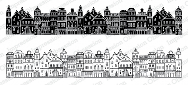Town stamps for slimline cards, as part of the Slim Scenes stamp collection at Impression Obsession