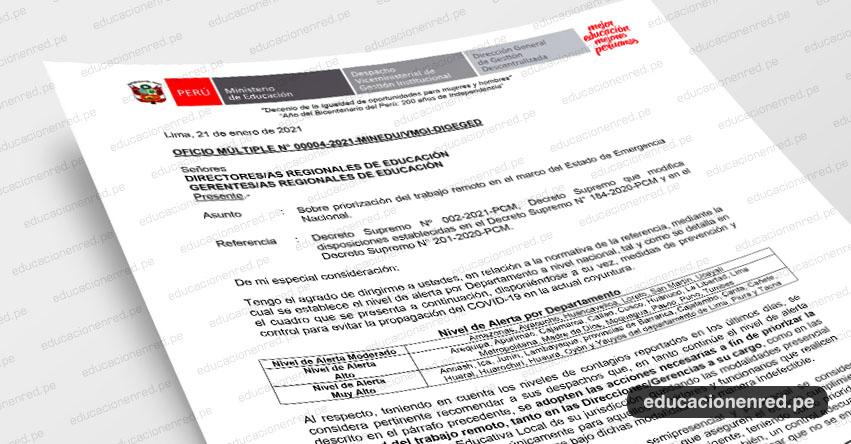 OFICIO MÚLTIPLE N° 00004-2021 -MINEDU/VMGI-DIGEGED.- Sobre priorización del trabajo remoto en el marco del Estado de Emergencia Nacional (.PDF)