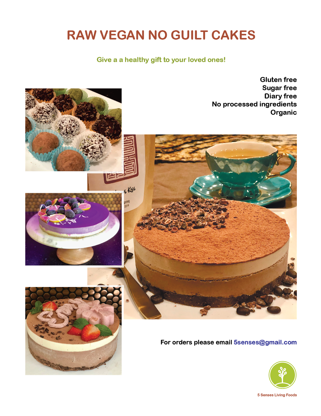 5 Senses Cake and Desserts Flyer