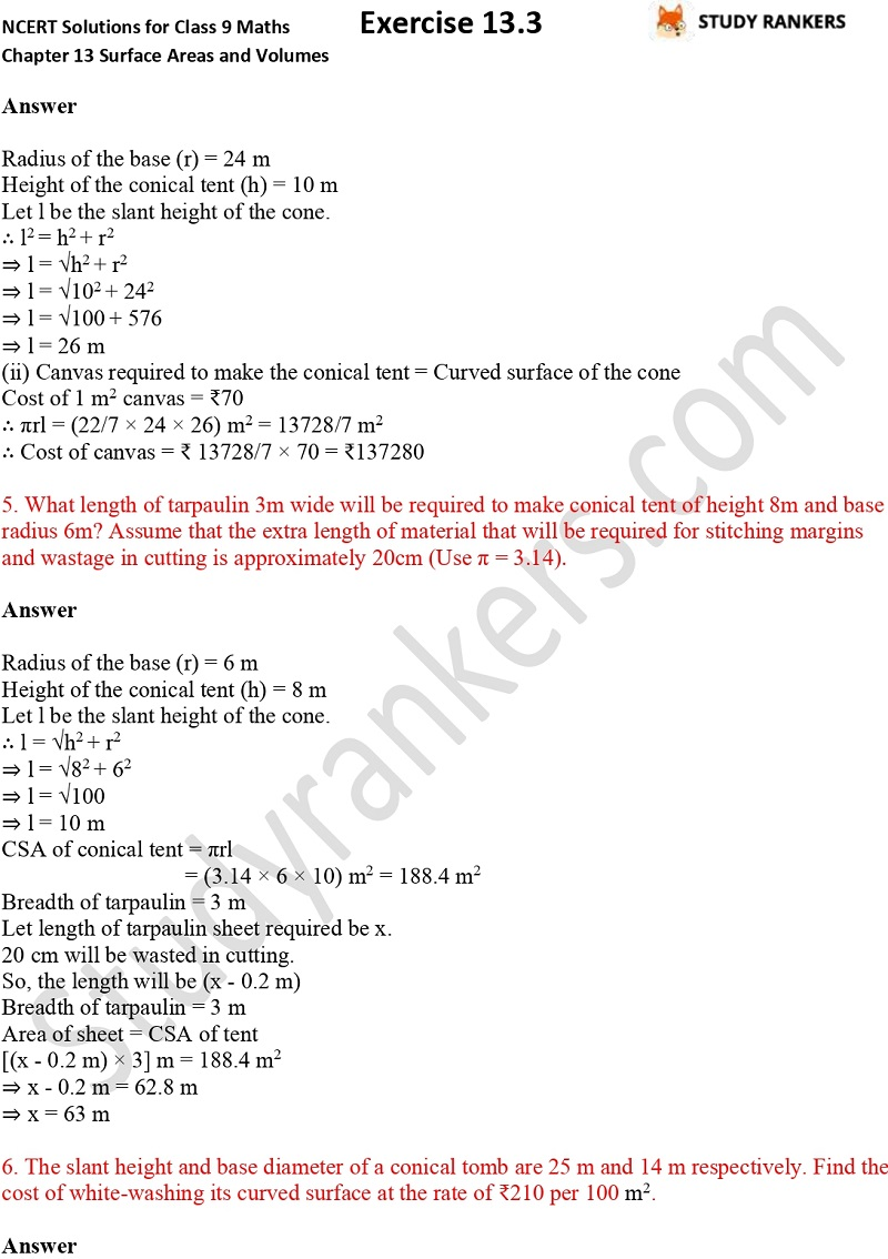 NCERT Solutions for Class 9 Maths Chapter 13 Surface Areas and Volumes Exercise 13.3 Part 2