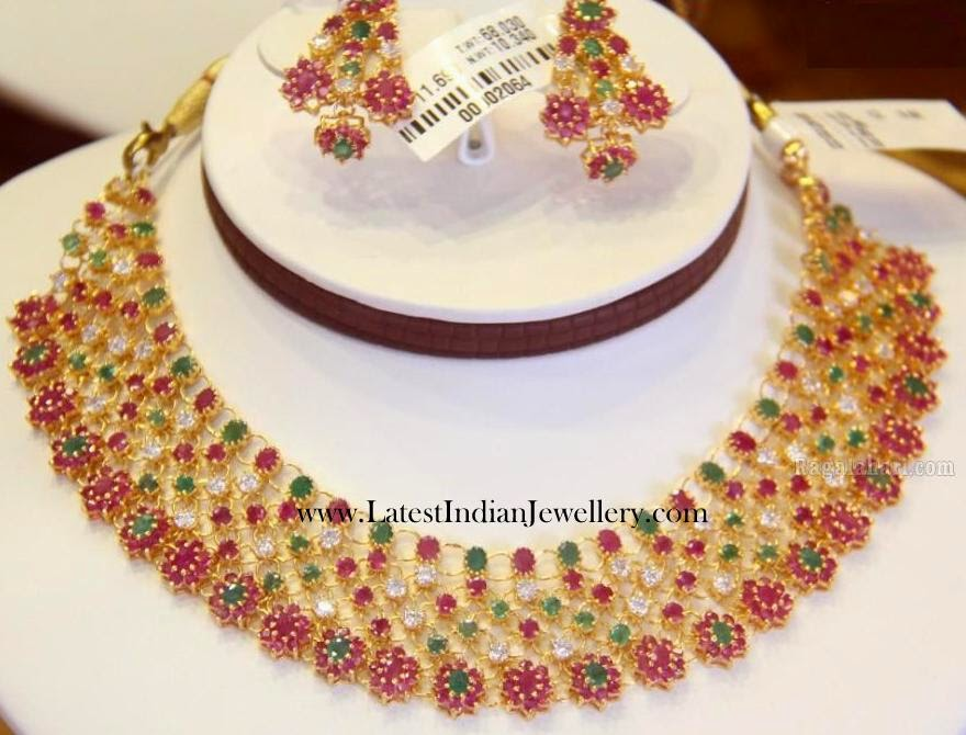 Gorgeous Ruby Emerald Necklace Set