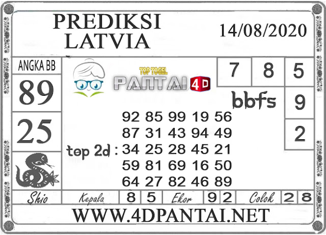 PREDIKSI TOGEL LATVIA PANTAI4D 14 AGUSTUS 2020
