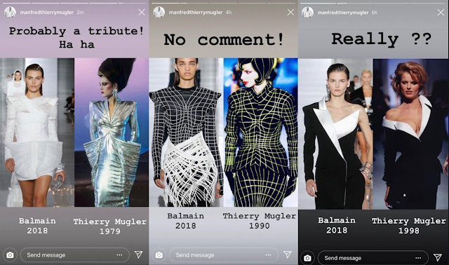 Screenshots of Thierry Mugler instagram. Thierry Mugler himself well noted and commented on the copies made by Olivier Rousteing of his designs