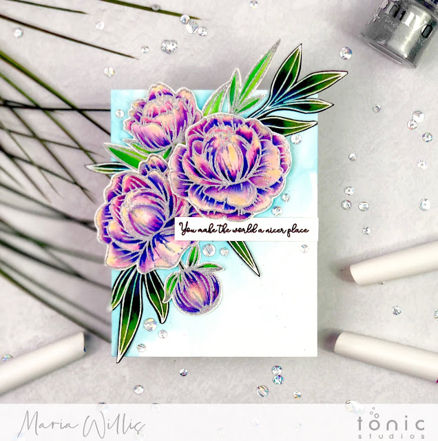 #tonicstudios, #tonicstudiosusa, #tonicstudiosgardenparty, #cardbomb, #mariawillis, #nuvo, #nuvoaquaflowpens, #nuvoshimmerpowder, #cards, #stamp, #ink, #paper, #papercraft, #handmade, #handmadecards, #art, #diy, #color, #watercolor, #pencils, #peonybloom, #celebratesentiments