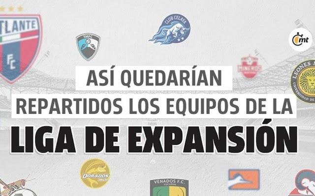 ASÍ QUEDARAN REPARTIDOS LOS EQUIPOS DE LA LIGA DE EXPANSIÓN