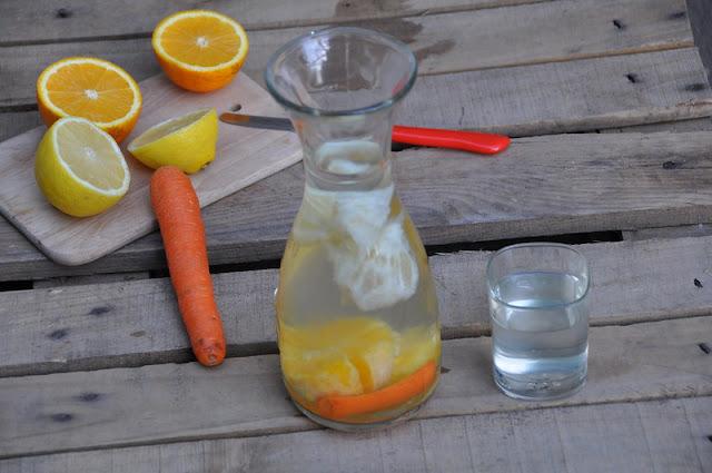 Acqua aromatizzata arancia, limone carota