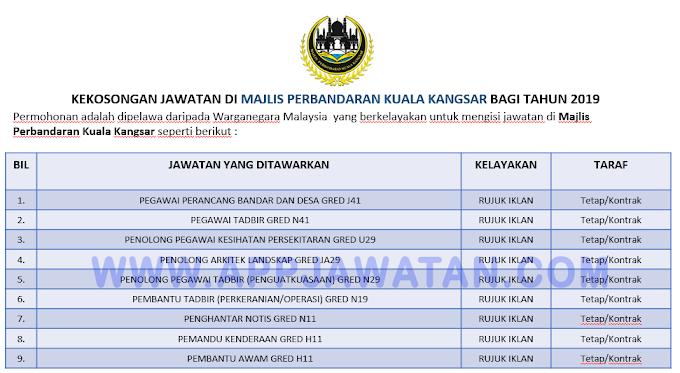 Jawatan Kosong Terkini di Majlis Perbandaran Kuala Kangsar.