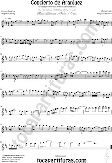 Violín Partitura del Concierto de Aranjuez Sheet Music for Violin Music Scores
