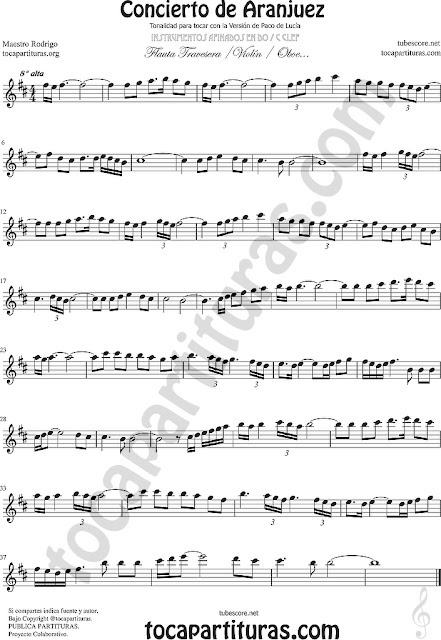 Flauta Travesera Partitura del Concierto de Aranjuez Sheet Music for Flute and Recorder Music Scores