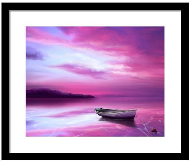 sunset over the ocean, boat, neon sky,
