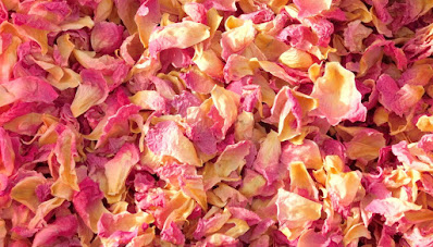 Multicolored confetti made from dried peony petals