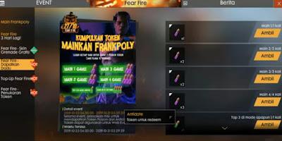 Cara Mendapatkan Token Antidote dan Poison FF  Cara Mendapatkan Token Antidote dan Poison Event Frankpoly Free Fire