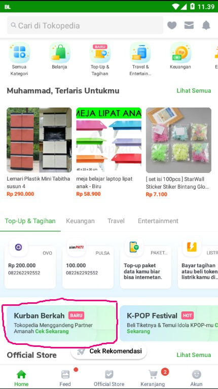 Discoveri Kurban Berkah di Home Aplikasi Tokopedia.