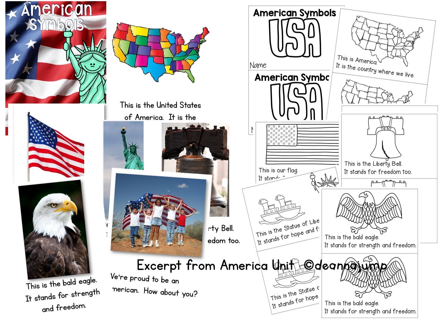 American symbols for kids in kindergarten and first grade [ 1077 x 1474 Pixel ]