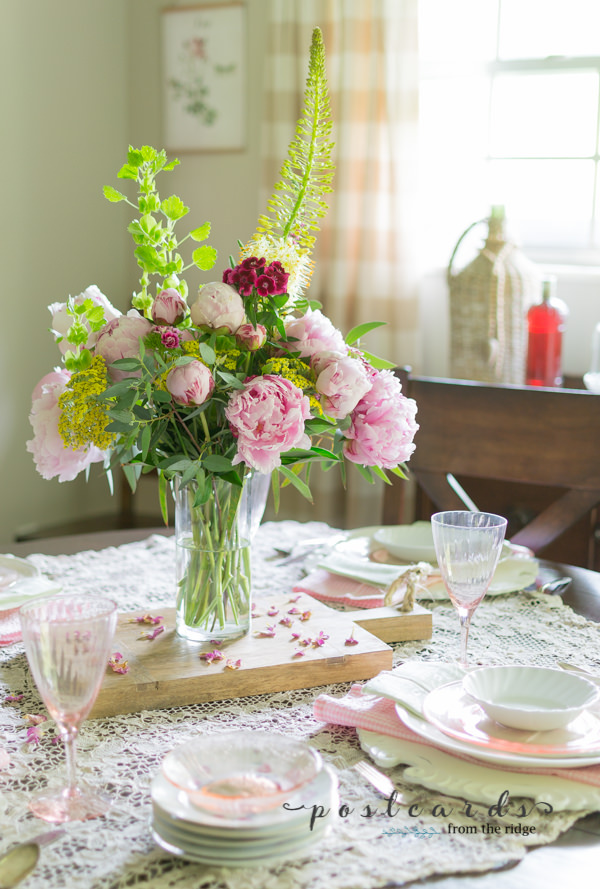 vintage pink depression glass and pink peonies