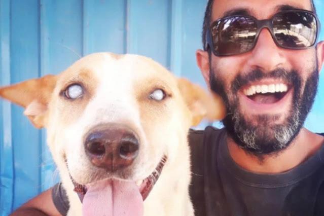 Мужчина стал лучшим другом слепому псу из приюта