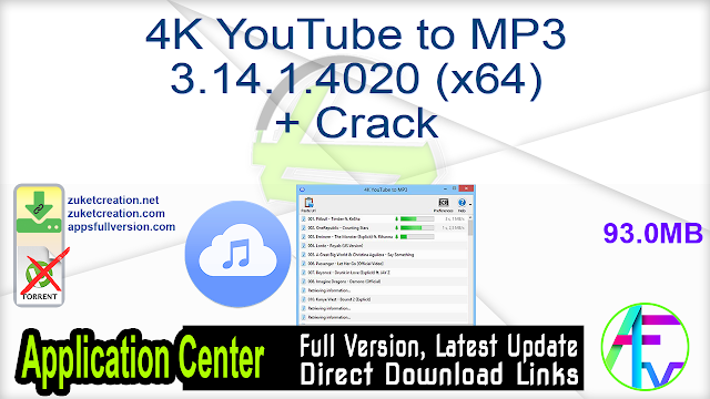 4K YouTube to MP3 3.14.1.4020 (x64) + Crack