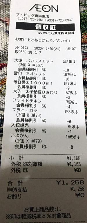 ザ・ビッグ 青森東店 2020/2/20 のレシート