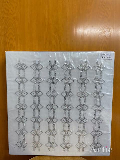 Sticker hotfix rhinestone DMC 6 jalur aplikasi tudung, bawal & fabrik pakaian motif islamik geometrik