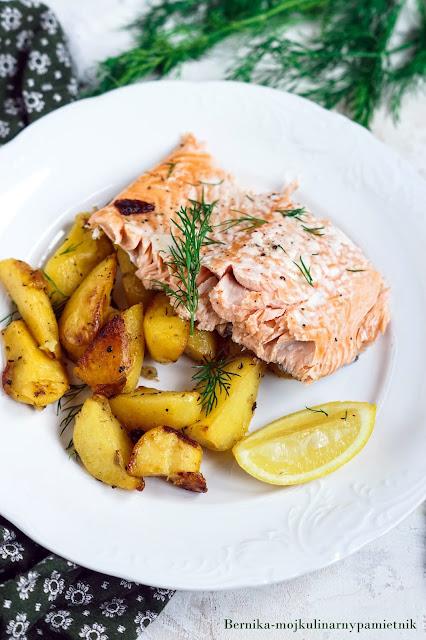 losos, ziemniaki, obiad, ryba, ziemniaki, bernika, kulinarny pamietnik
