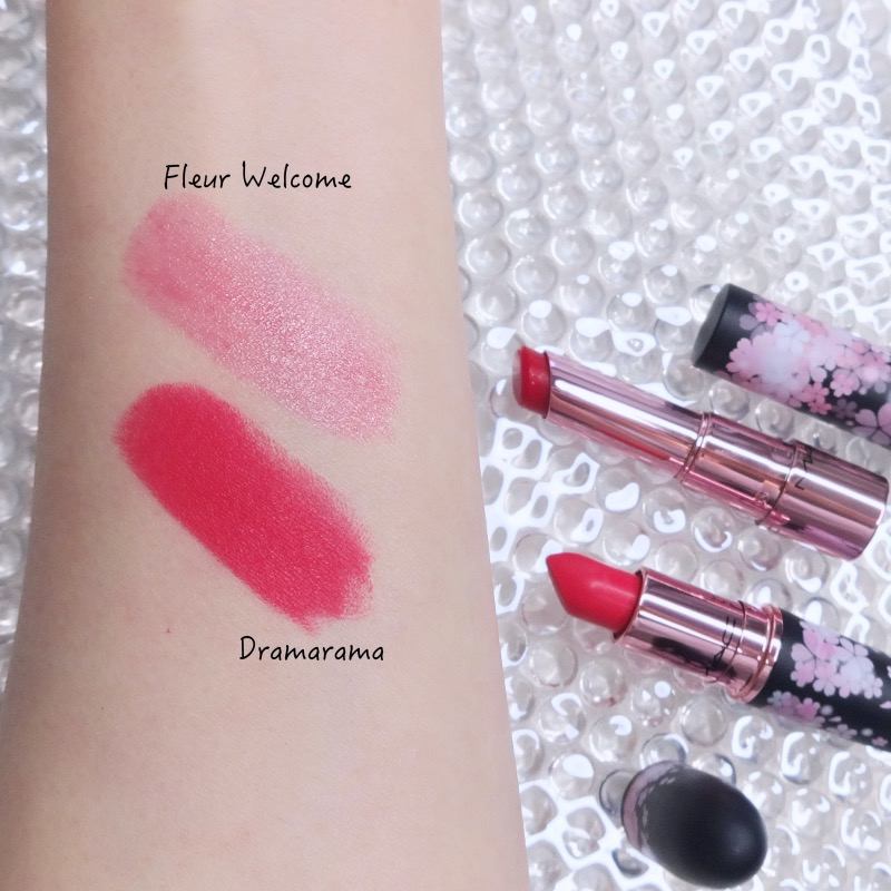 MAC Black Cherry Collection Dramarama Fleur Welcome swatches