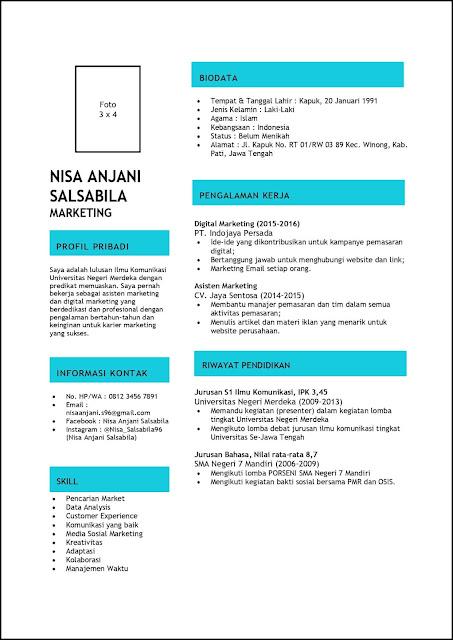 Contoh Curriculum Vitae (CV) Untuk Marketing