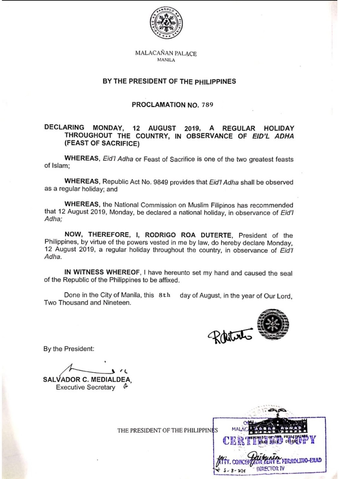 Walang Pasok: Palace declares August 12 a regular holiday for Eid'l Adha.