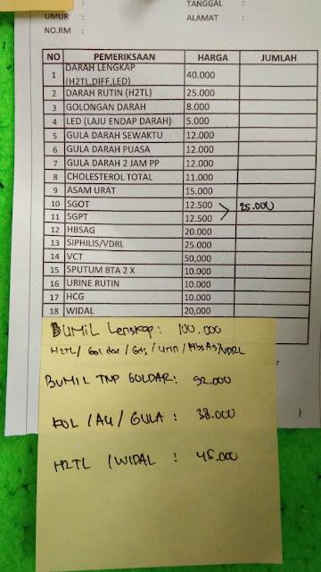 Biaya cek lab ibu hamil di Puskesmas Depok
